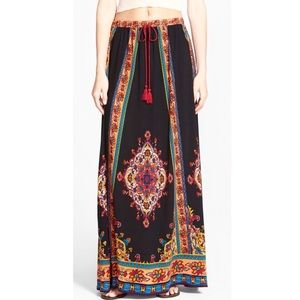Flying Tomato Mixed Print Maxi Skirt With Tassel